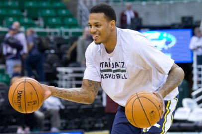 Nov 11, 2013; Salt Lake City, UT, USA; Utah Jazz shooting guard Brandon Rush (25) warms up prior to a game against the Denver Nuggets at EnergySolutions Arena. Mandatory Credit: Russ Isabella-USA TODAY Sports