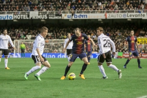 VALENCIA - FEBRUARY 3: Andres Iniesta with ball during Spanish League match between Valencia CF and FC Barcelona, on February 3, 2013, in Mestalla Stadium, Valencia, Spain